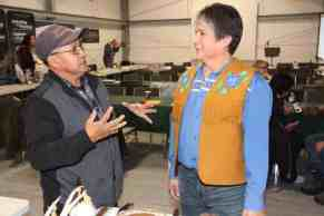 Alec Sunrise, left, a former chief of K'athlodeeche First Nation (KFN), chats with Chief Clarence Louie of the Osoyoos Indian Band in British Columbia. Louie was the keynote speaker at the KFN Mining Symposium held in Hay River on Nov. 14 & 15. Paul Bickford/NNSL photo