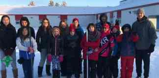 The Aboriginal Sports Circle NWT held a traditional games camp in Fort Simpson last week. The attends were.: Back row: Gina Hardisty Isaiah, Amaria Tanche Hanna, Brooklyn Martineau, Gombee Jose, Tyler Tsetso, Manny Buckley (Dene Games Instructor) Front row: Alexei Gargan, Evan Noseworthy, Katie Noseworthy, Kenisha Pennycook, Meeks Edda, Rhys Dowedswell, Coleman Brown, and Carson Roche