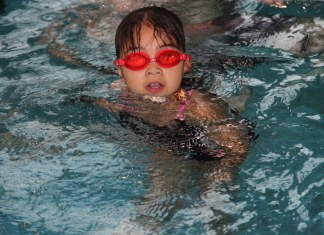 Seven-year-old Kaislea King participates in Making Waves, which were two days of activities last week at the swimming pool sponsored by the Mackenzie Recreation Association. Paul Bickford/NNSL photo