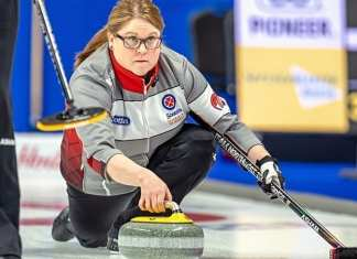 Kerry Galusha delivers a rock during action at the Scotties Tournament of Hearts in Sydney, N.S., late last month. Galusha joined in with her brother, Jamie Koe, to win the NWT Mixed Curling Championship in Fort Smith on Sunday. Andrew Klaver/Curling Canada photo