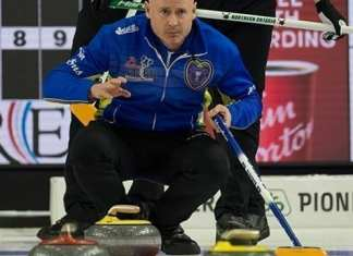 Kevin Koe watches the line during playoff action at the Tim Hortons Brier in Brandon, Man., on Saturday. Koe is now the Canadian men's national champion for a fourth time after beating wild card skip Brendan Bottcher in the final on Sunday evening. Michael Burns/Curling Canada photo