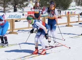 Rae Panayi takes off on her lap in the team relays after being tagged by Ella Kokelj during action at the Canadian Ski Championships in Gatineau, Que., on March 18. photo courtesy of Shawne Kokelj