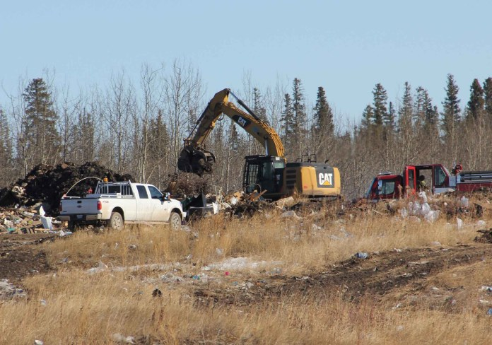 Almost no smoke could be seen on March 22 from the fire at the Hay River landfill site. However, efforts continued to completely put out the fire that was first noticed on March 3. Paul Bickford/NNSL photo