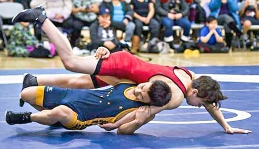 Eekeeluak Avalak of Cambridge Bay, seen during the Nunavut Wrestling Championships in Pangnirtung in January, won himself a silver medal in the boys U17 55-kg weight class at the U17/U19 Canadian Wrestling Championships in Fredericton, N.B., on Saturday. photo courtesy of David Kilabuk