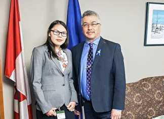 NWT MP Michael McLeod, left, and territorial delegate for Daughters of the Vote Lesli Kisoun met while she was in Ottawa to spread the word about a threat to Porcupine caribou in Alaska. Photo courtesy of the Office of Michael McLeod