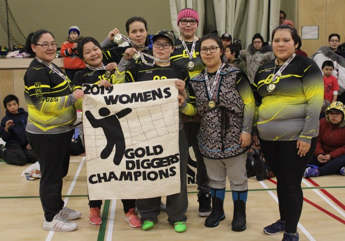 The Serve-ivors of Gjoa Haven captured the women's title at the Gold Diggers Volleyball Tournament in Gjoa Haven on April 7 thanks to a five-set win over The A-Team in the final. They are, from left, Flora Arqviq, Sharon Takkiruq, Martha Porter, Karen Aaluk, Nessa Ann Sallerina, Marlene Akkikungnak and Courtney Takkiruq. photo courtesy of Kim Rowley