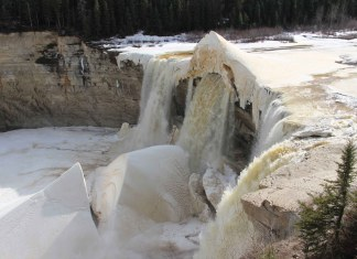 A sure sign the spring break-up of the Hay River is not that far away is that Alexandra Falls - as seen on April 12 - is quickly becoming falling water instead of ice. Alexandra Falls is located about six km south of Enterprise. Paul Bickford/NNSL photo