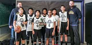 The DT Electric Futures U13 boys squad earned themselves second place at the IHG Easter Classic Basketball Tournament in Edmonton this past Sunday. They are from left, coach Mike Callas, Kyle McCallister, Aldon Gavina, Jozuard Mercado, Francesco Stefanos, Jonathan Aine, Jericho Jimenez, Jacob Mitchener and coach Cole Marshall. photo courtesy of Cole Marshall