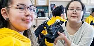 John Arnalukjuak High School students Chasity St. John, left, and Katy Suluk of Arviat are all smiles as they close-in on a silver medal in the Video Production category of the Skills Canada Nunavut competition in Iqaluit on April 27, 2019. Photo courtesy Gord Billard