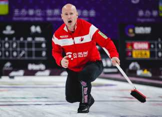 Kevin Koe calls the line during action at the Curling World Cup in Beijing, China, on Saturday. Koe and his rink won themselves the gold medal in the men's final late Saturday thanks to a 5-3 win over China's Qiang Zou. Celine Stucki/World Curling Federation photo