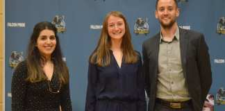 The Sir John Franklin Athletics Hall of Fame class of 2019 are, from left, Pooja Chugh, Hannah Clark and Graeme Ryder. The trio was inducted into the school's hall of fame at a ceremony on Friday evening. James McCarthy/NNSL photo