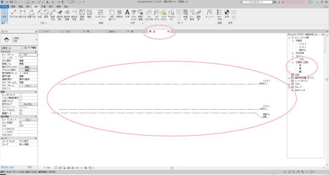 Revit (Autodesk)の初期のレベルの解説画像