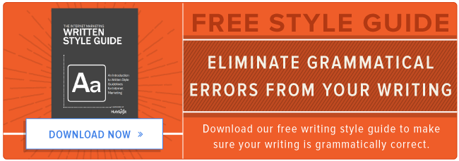 fix grammatical errors with the writing style guide