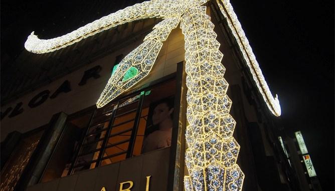 銀座 ブルガリ クリスマスイルミネーション