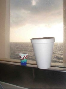 This picture shows what happens to an 8 fluid ounce Styrofoam cup after experience water pressure at 1000 meters down. The colorful cup was sent down attached to the CTD
