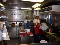 Walter, Second Cook, and Paul, Chief Steward in the galley- The meals are WONDERFUL!