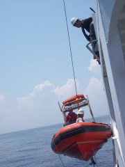 Lowering the RHIB for diving operations