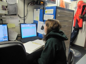 The Dry Lab. Jeanette is watching the data come in from one of the instruments.