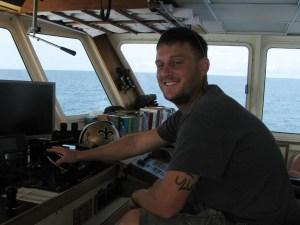 First Mate Pete Casserleigh piloting the R/V Savannah