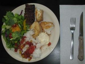 Gag grouper and meatloaf dinner