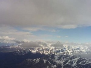 View out the window of the plane from Anchorage to Petersburg