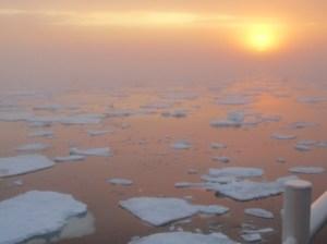 Morning sun over ice