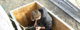 Jesse goes down to collect samples from the brine lens