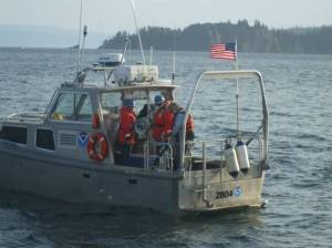 RA-4 launch, one of the Rainier's small boats