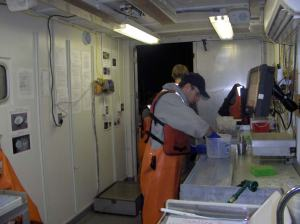 Members of the day watch working at measuring stations.