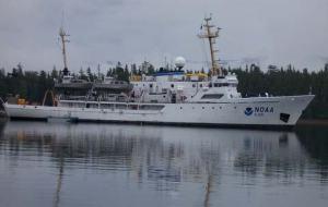 The NOAA ship RAINIER, also known as S221, at anchor in Alaska.