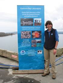 A NOAA employee from Kasitsna Bay Laboratory