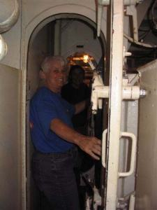 Marilyn entering below deck.