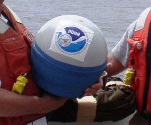 Stickers on the drifter buoy