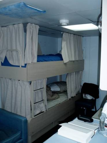 Picture of my berth.  I have the top bunk.