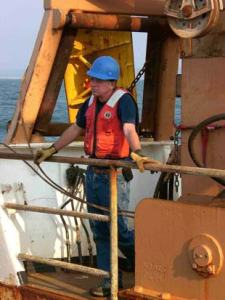 Chief Scientist Bill Michaels on the aft deck of the DELAWARE II.