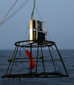 Deployment of the Trigger Cam.  AKA The Contraption.  Picture provided by NOAA.