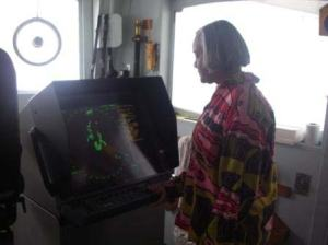 TAS Jacquelyn Hams reads X-Band radar screen