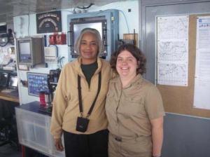 NOAA Teacher at Sea, Jacquelyn Hams, and ENS Olivia Hauser on board NOAA ship RAINIER