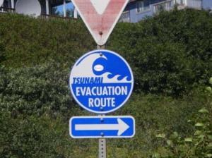 Tsunami Evacuation route sign in Sand Point