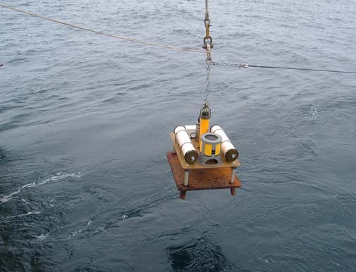 The Bottom Pressure Recorder (BPR) with its anchor attached.