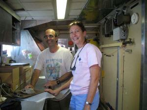 Scientist Jerry Prezioso and teacher Amy Pearson in the wet lab of DELAWARE II