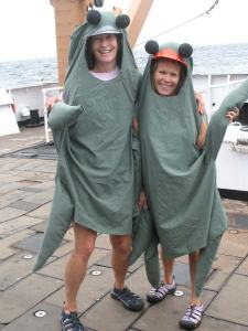 Teacher Amy Pearson and Kim Pratt dressing up as plankton
