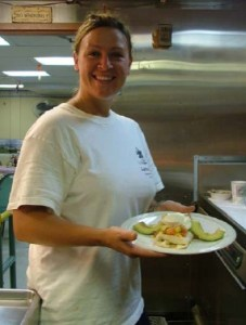 TAS Braun shows off her eggs benedict