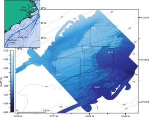 Evidence of ancient iceburg scours off of North Carolina as detected by multibeam mapping.