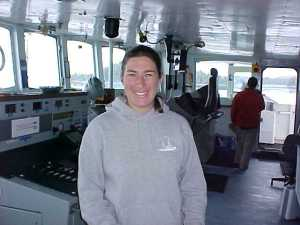 LTJG Nicola Samuelson collecting sonar data aboard RA 6
