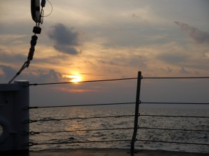A beautiful sunset on my first night out at sea.