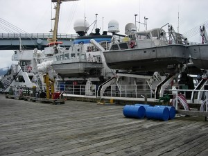NOAA hydrographic ship, RAINIER, preparing for departure from Sitka, Alaska