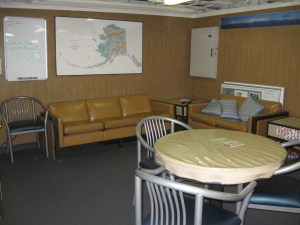 This is the wardroom where I watch movies with various crew members some evenings.