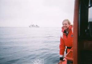 Returning to ship due to stormy seas.