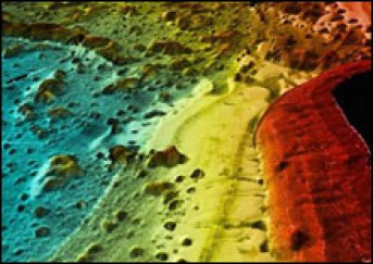 A map integrating backscatter map with bathymetry, showing the seafloor in rich detail